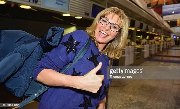 Maren Gilzer pose before the flight to Australia as a participant in the 2015 RTLTVShow 'Dschungelcamp Ich bin ein Star Holt mich hier raus' at...