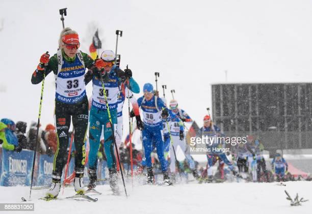 Maren Hammerschmidt of Germany leads the field in the 10 km Women's Pursuit during the BMW IBU World Cup Biathlon on December 0 2017 in Hochfilzen...