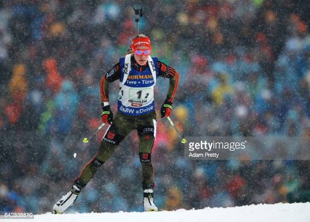 Maren Hammerschmidt of Germany on her way to victory in the Women's 4x 6km relay competition of the IBU World Championships Biathlon 2017 at the...