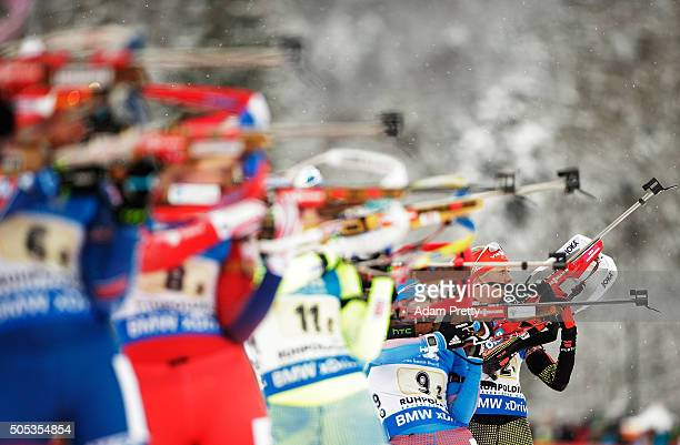 Maren Hammerschmidt of Germany on the shooting range during Women's 4x 6km relay on Day 5 of the IBU Biathlon WOrld Cup Ruhpolding on January 17 2016...