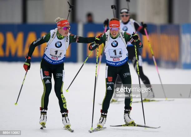 Maren Hammerschmidt of Germany sends Laura Dahlmeier of Germany on the track during the Women's 4x 6km relay competition of the BMW IBU World Cup...