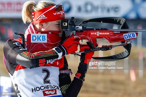 Maren Hammerschmidt of Germany takes 2nd place during the IBU Biathlon World Cup Men's and Women's Pursuit on December 12 2015 in Hochfilzen Austria