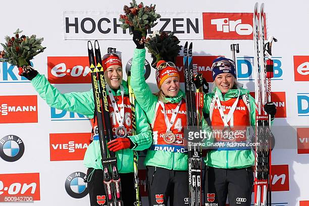 Maren Hammerschmidt of Germany takes 2nd place Franziska Hildebrand of Germany takes 1st place Miriam Goessner of Germany takes 3rd place during the...