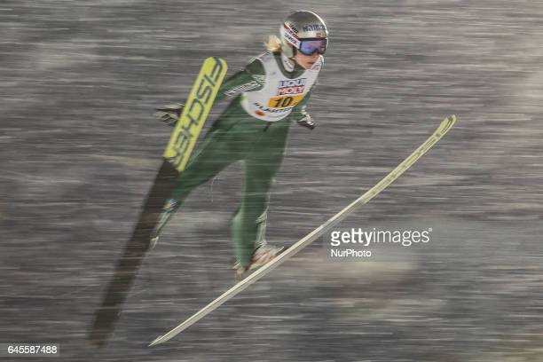 Maren Lundby competes in the Mixed Team HS100 Normal Hill Ski Jumping during the FIS Nordic World Ski Championships on February 26 2017 in Lahti...