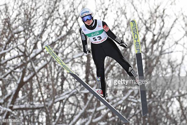 Maren Lundby of Norway competes in the Ladies HS 100 during the FIS Women's Ski Jumping World Cup Sapporo at the Miyanomori Ski Jump Stadium on...