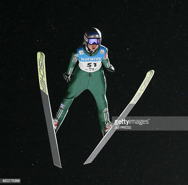 Maren Lundby of Norway jumps during the first round of the women's ski jumping World Cup event at Zao near Yamagata city in Yamagata prefecture on...