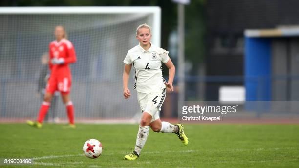Maren Marie Tellenbroeker of Germany runs with the ball during the UEFA Under19 Women's Euro Qualifier match between Germany and Iceland at Stadium...