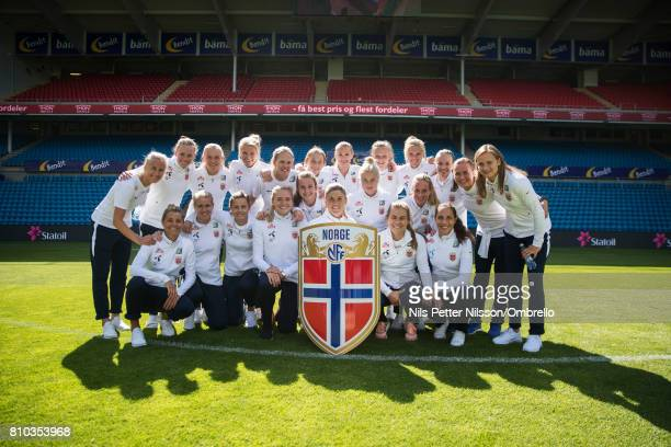 Maren Mjelde and players is presented with a shield during a Norway FA Photo Shoot on July 5 2017 at Ulleval in Oslo Norway