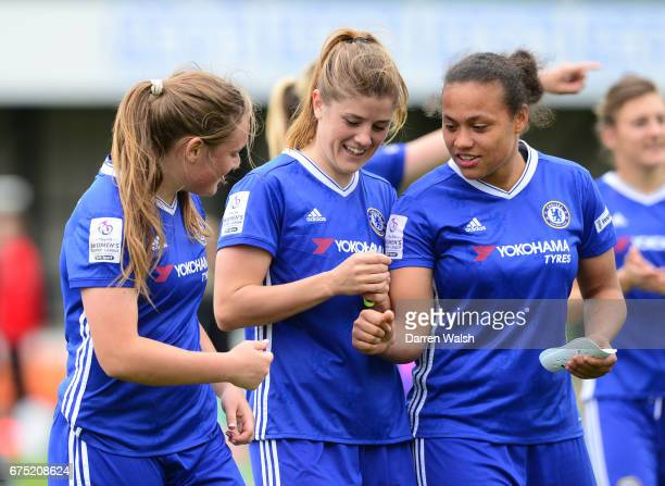 Maren Mjelde Drew Spence and Erin Cuthbert of Chelsea after the FA WSL 1 match between Chelsea Ladies and Yeovil Town Ladies at Wheatsheaf Park on...