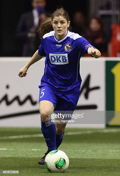 Maren Mjelde of 1 FFC Turbine Potsdam runs with the ball during the DFB Women's Indoor Cup 2013 at GETECArena on January 12 2014 in Magdeburg Germany