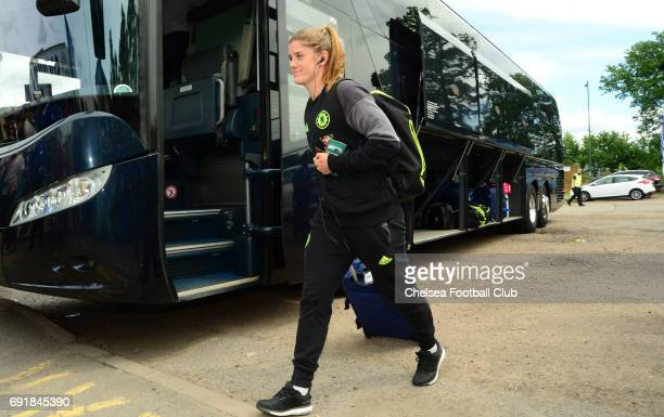 Maren Mjelde of Chelsea arrives before the WS1 match between Birmingham City Ladies and Chelsea Ladies at The Automated Technology Group Stadium on...