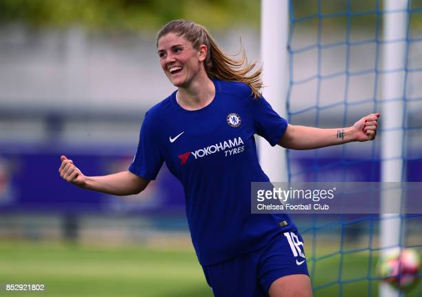 Maren Mjelde of Chelsea celebrates after she scores to make it 30 during a WSL Match between Chelsea Ladies and Bristol Academy Women on September 24...