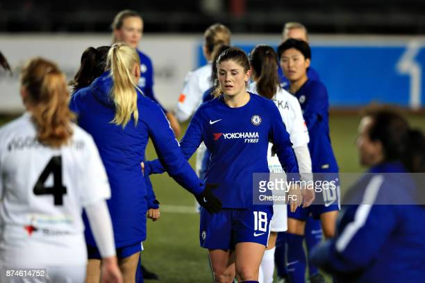 Maren Mjelde of Chelsea FC gestures during the UEFA Women's Champions League between Rosengard and Chelsea Ladies at Malmo Idrottsplats on November...