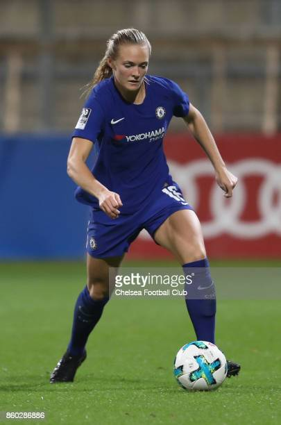 Maren Mjelde of Chelsea FC kicks the ball during the Champions League round of 32 second leg match between FC Bayern Muenchen and Chelsea FC on...