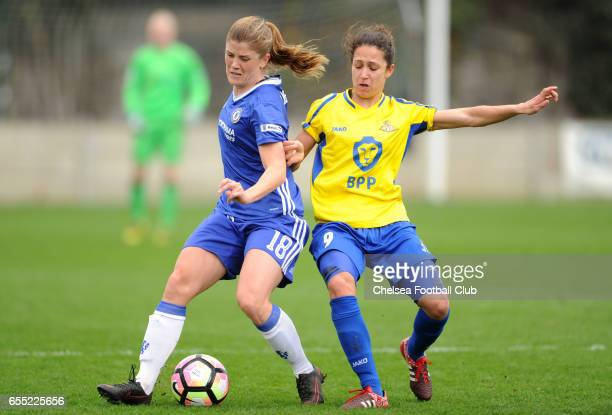 Maren Mjelde of Chelsea in action during Chelsea FC Ladies vs Doncaster Rovers Ladies on March 19 2017 in Staines England