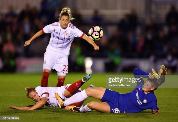 Maren Mjelde of Chelsea Ladies and Dominika Skorvankova of Bayern Munich during the UEFA Womens Champions League Round of 32 First Leg match between...