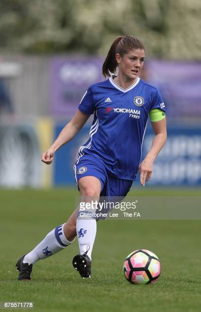 Maren Mjelde of Chelsea Ladies in action during the FA WSL 1 match between Chelsea Ladies and Yeovil Town Ladies at Wheatsheaf Park on April 30 2017...