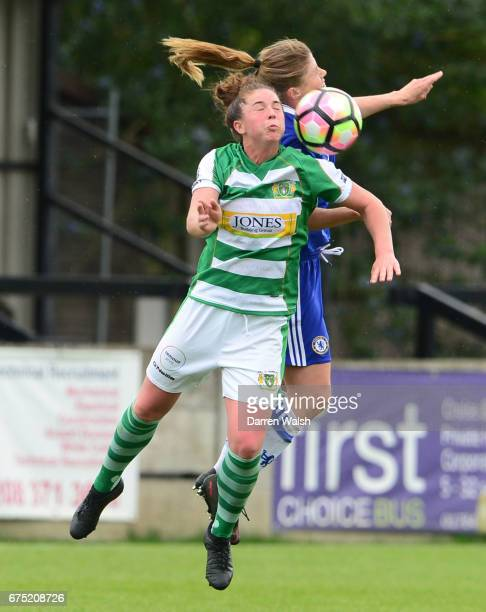 Maren Mjelde of Chelsea wins a header during the FA WSL 1 match between Chelsea Ladies and Yeovil Town Ladies at Wheatsheaf Park on April 30 2017 in...