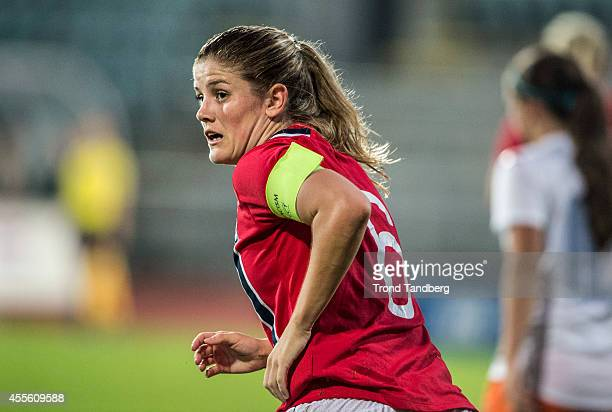 Maren Mjelde of Norway in action during the FIFA Women's World cup qualifier match between Norway and the Netherlands at Nadderud Stadion on...