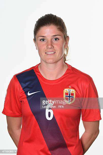 Maren Mjelde of Norway poses during the FIFA Women's World Cup 2015 portrait session at Fairmont Chateau Laurier on June 3 2015 in Ottawa Canada
