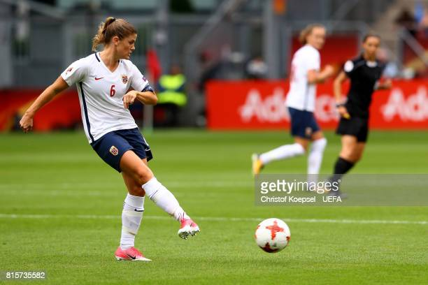 Maren Mjelde of Norway runs with the ball during the UEFA Women's Euro 2017 Group A match between Netherlands and Norway at Stadion Galgenwaard on...