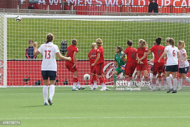 Maren Mjelde of Norway scores a goal on a direct kick during the FIFA Women's World Cup Canada 2015 Group B match between Germany and Norway at...