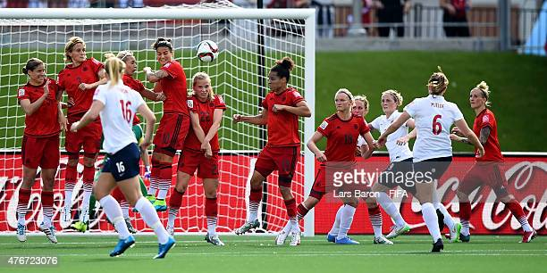 Maren Mjelde of Norway scores her teams first goal during the FIFA Women's World Cup 2015 Group B match between Germany and Norway at Lansdowne...