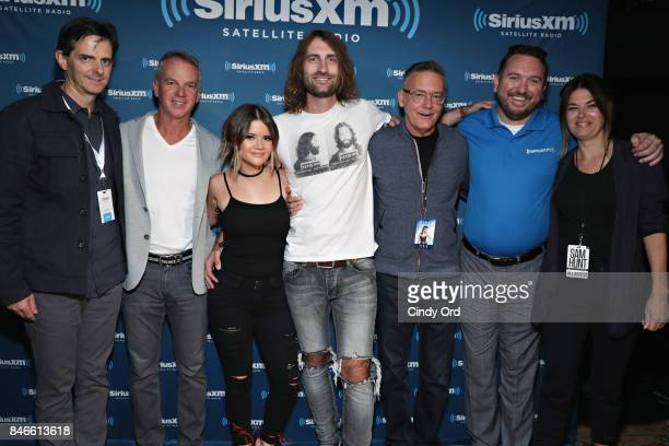 Maren Morris and Ryan Hurd pose for a photo with SiriusXM Senior Vice President and General Manager of Music Programming Steve Blatter Steve Hodges...