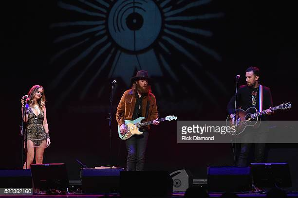 Maren Morris performs with John and TJ Osborne of the Brothers Osborne during the AIMP Nashville Awards on April 18 2016 in Nashville Tennessee