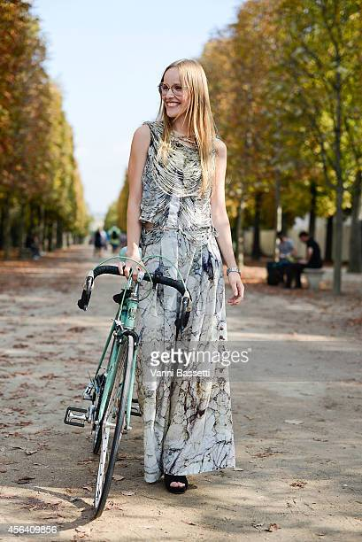 Maren Wulf poses wearing a Steinrohner dress on September 30 2014 in Paris France