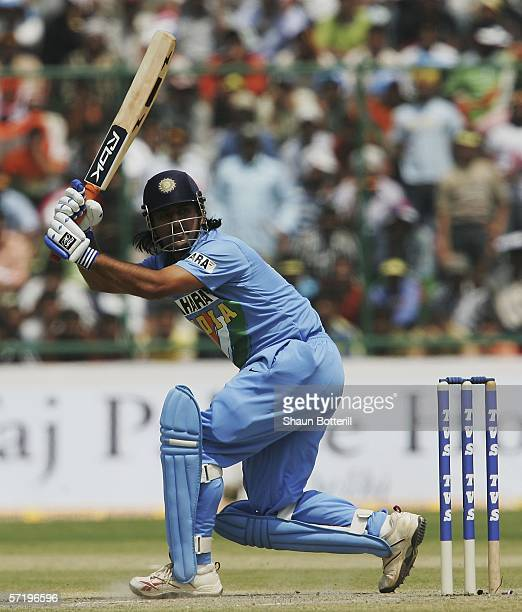 Marendra Dhoni of India in action during the first one day international match between India and England at the Feroz Shah Kotla Stadium on March 28...