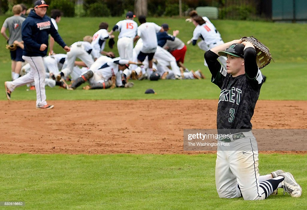 Maret first baseman Jack Brotman right reacts to Potomac celebrating their bottom of the 7th tie breaking run during Potomac's defeat of Maret 2 1...