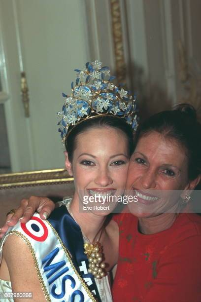 Mareva Galantier Miss Tahiti now Miss France 1999 is congratulated by her mother MarieHelene