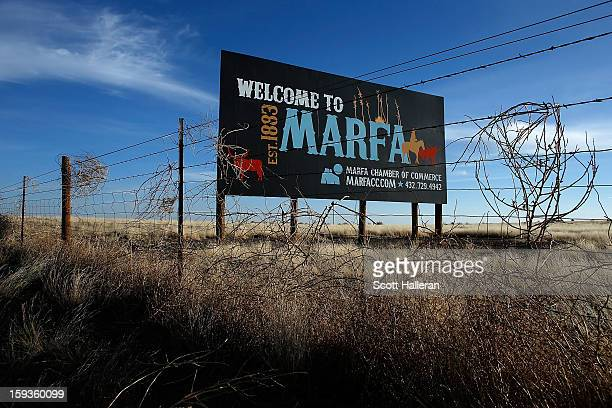 Marfa sign is seen on the outskirts of town on December 25 2012 in Marfa Texas Situated in West Texas this town of just over 2000 residents has...