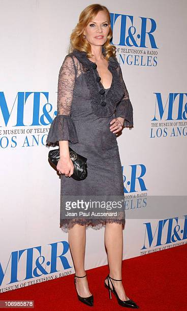 Marg Helgenberger during The Museum of Television Radio Honors Leslie Moonves and Jerry Bruckheimer Arrivals at Regent Beverly Wilshire Hotel in...