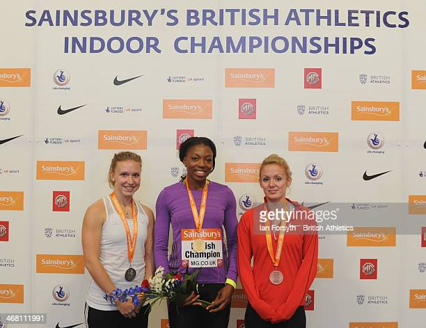 Margaret Adeoye of Enfield and Haringey poses with her gold medal along with Laura Wake of WSE Hounslow who won silver and Meghan Beesley of...