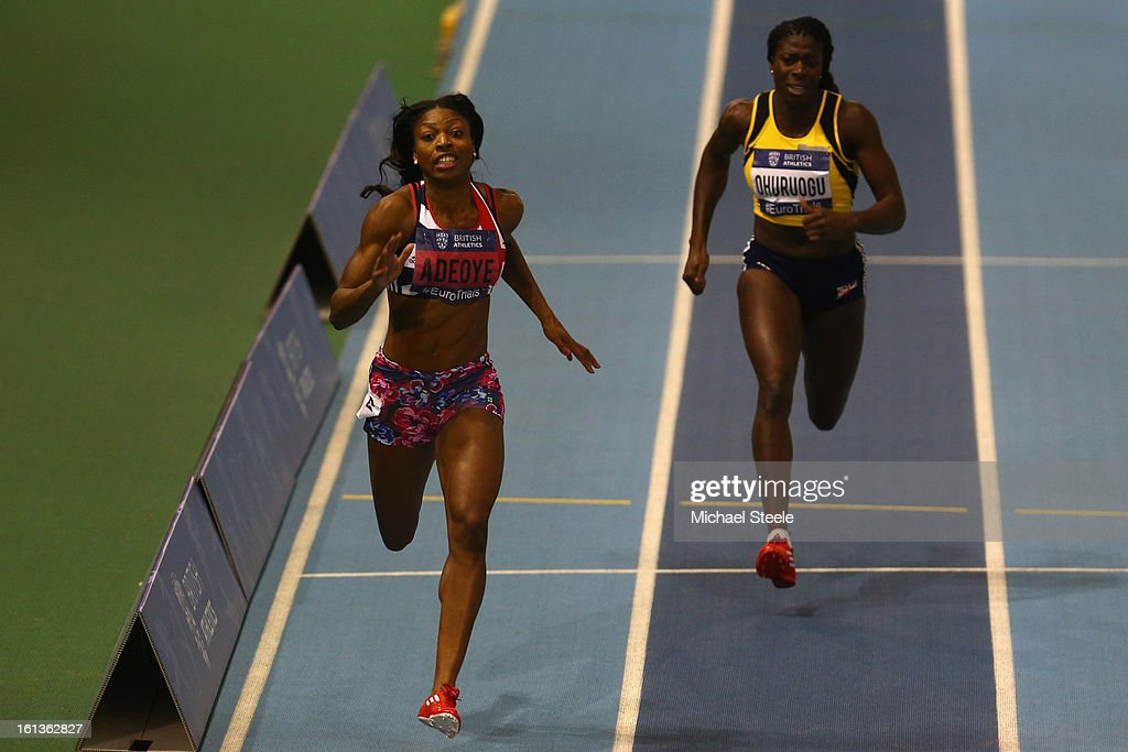 Margaret Adeoye (L) on her way to victory in the women's 200m final from <a gi-track='captionPersonalityLinkClicked' href=/galleries/search?phrase=Christine+Ohuruogu&family=editorial&specificpeople=703549 ng-click='$event.stopPropagation()'>Christine Ohuruogu</a> (R) during day two of the British Athletics European Trials & UK Championship at the English Institute of Sport on February 10, 2013 in Sheffield, England.