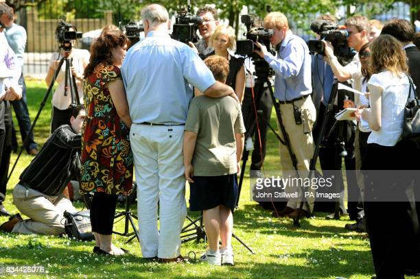 Margaret and Barry Mizen and their son George talk to the media in the grounds of St Thomas More School in Eltham South East London where their other...