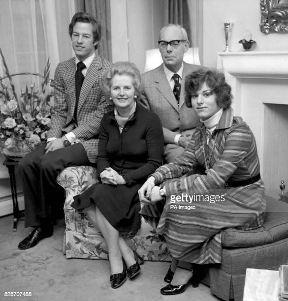 Margaret and Denis Thatcher with their children Mark and Carol at their Chelsea home on the day of their silver wedding anniversary