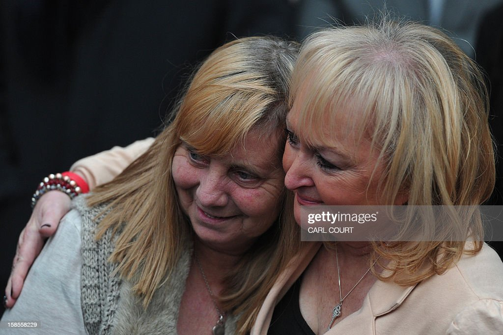 <a gi-track='captionPersonalityLinkClicked' href=/galleries/search?phrase=Margaret+Aspinall&family=editorial&specificpeople=6899634 ng-click='$event.stopPropagation()'>Margaret Aspinall</a> (L) and Jenni Hicks (R), who both lost relatives in the 1989 Hillsborough disaster, embrace outside the High Court in central London on December 19, 2012, as they react after the High Court quashed the original accidental death verdicts returned on 96 Liverpool football fans who died in the tragedy. The request from the Attorney General to quash the original inquest verdicts follows the publication of a damning independent report in September which concluded that 41 of the 96 people who died would have had the 'potential to survive' if they had received medical treatment more quickly. Attorney General Dominic Grieve called for fresh inquests to be held.