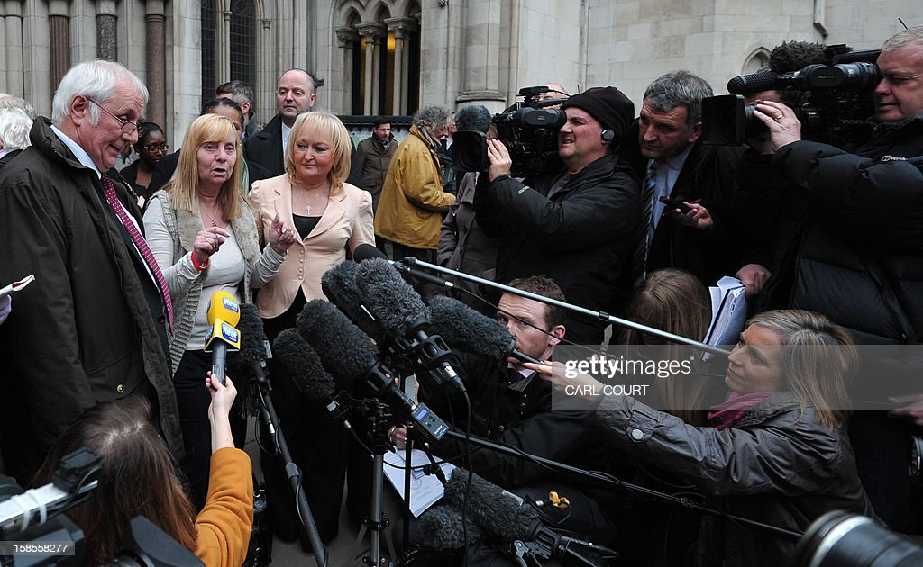 Margaret Aspinall (C), who lost her son James in the 1989 Hillsborough disaster, talks to the media flanked by Trevor Hicks and Jenni Hicks of the Hillsborough Family Support Group, outside the High Court in central London on December 19, 2012, as they react after the High Court quashed the original accidental death verdicts returned on 96 Liverpool football fans who died in the tragedy. The request from the Attorney General to quash the original inquest verdicts follows the publication of a damning independent report in September which concluded that 41 of the 96 people who died would have had the 'potential to survive' if they had received medical treatment more quickly. Attorney General Dominic Grieve called for fresh inquests to be held. The fatal crush was caused by huge overcrowding in a terrace at Hillsborough Stadium in the northern English city of Sheffield prior to an FA Cup semi-final between Liverpool and Nottingham Forest in 1989.