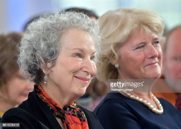 Margaret Atwood and Germany's minister of culture Monika Gruetters pictured during the 'Peace Prize of the German Book Trade' ceremony at St Paul's...