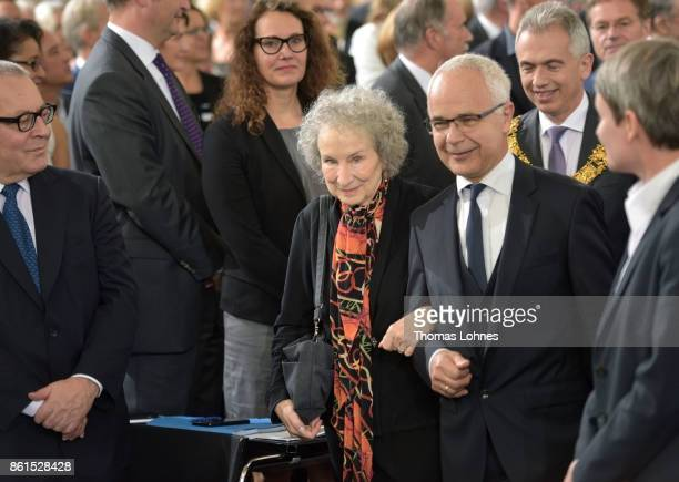 Margaret Atwood and Heinrich Riethmueller the president of German Publishers and Booksellers Association arrive for the 'Peace Prize of the German...