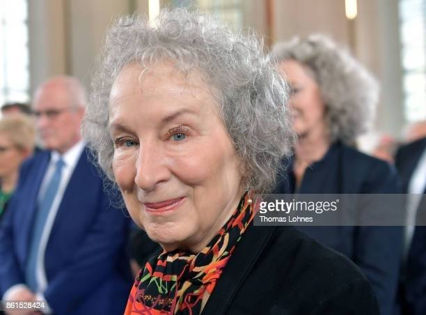 Margaret Atwood arrives for the 'Peace Prize of the German Book Trade' ceremony at St Paul's Church on October 15 2017 in Frankfurt am Main Germany...
