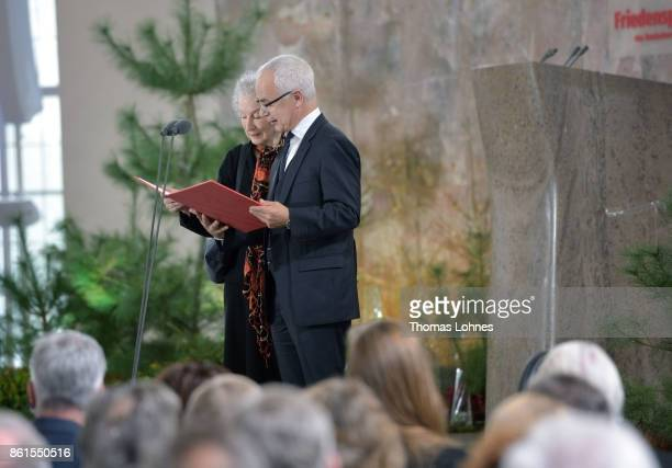 Margaret Atwood gets the 'Peace Prize of the German Book Trade' from Heinrich Riethmueller the president of German Publishers and Booksellers...