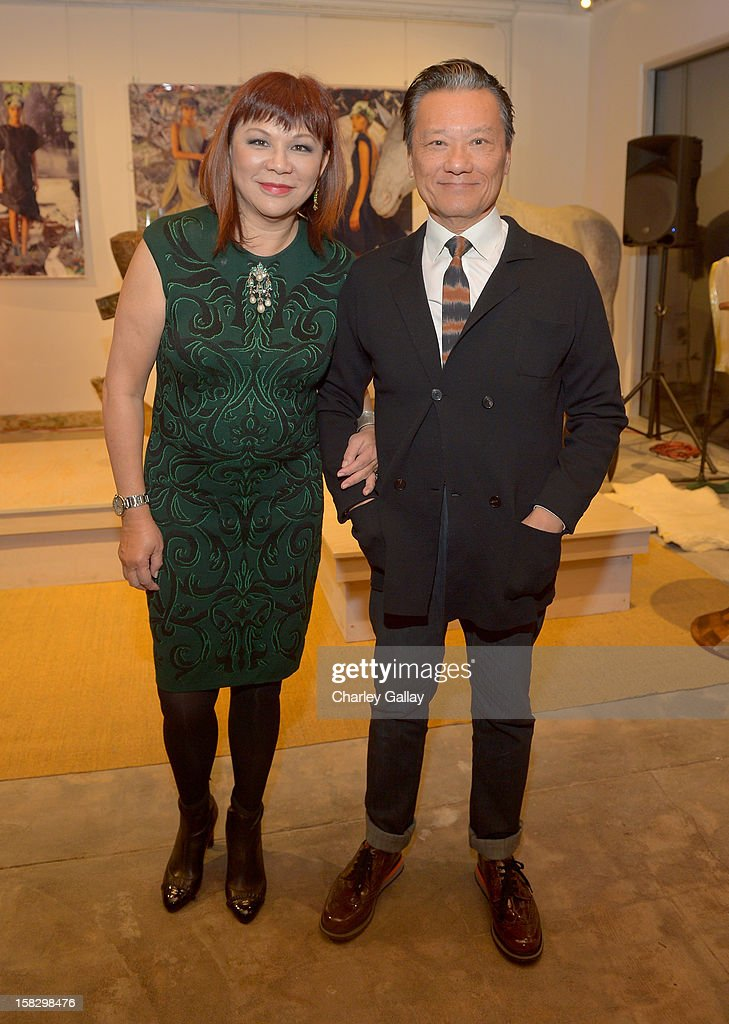 Margaret Chen (L) and Joel Chen attend High Fashion/2013 MOE Aliona Kononova Collection, brought to you by the all-new Lincoln MKZ, hosted by Joel Chen and Lyn Winter at C Project on December 12, 2012 in Los Angeles, California.