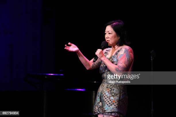 Margaret Cho performs on stage during the National Night Of Laughter And Song event hosted by David Lynch Foundation at the John F Kennedy Center for...