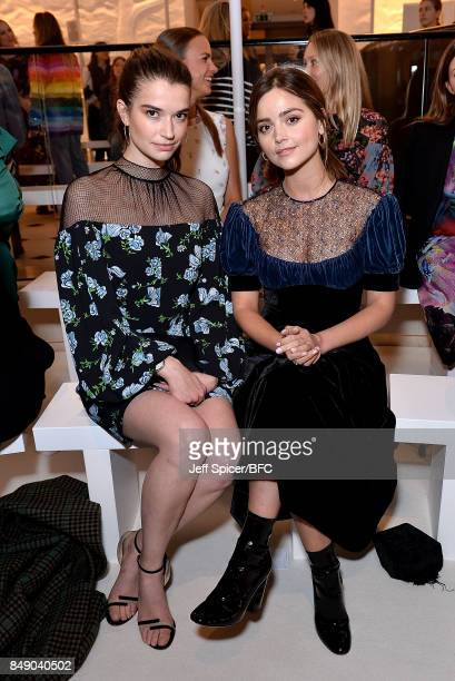 Margaret Clunie and Jenna Coleman attend the Emilia Wickstead show during London Fashion Week September 2017 on September 18 2017 in London England