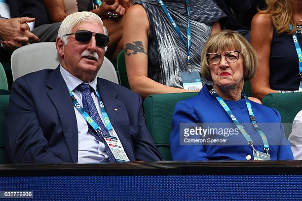 Margaret Court and Barrymore Court attend the semi final match between CoCo Vandeweghe of the United States and Venus Williams of the United States...