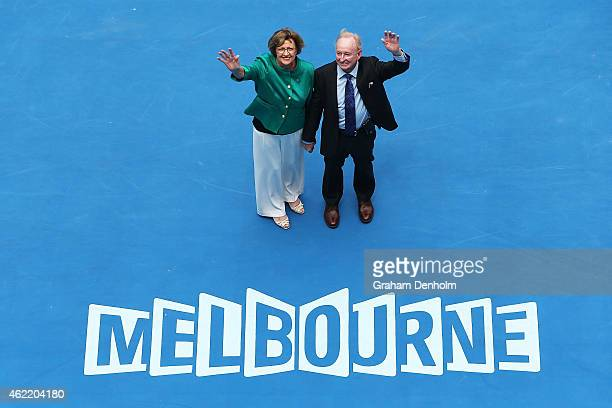 Margaret Court and Rod Laver wave during the official opening ceremony of Margaret Court Arena during day eight of the 2015 Australian Open at...